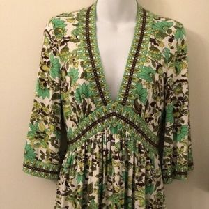 Milly of New York swingy mod green floral size M